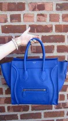 Celine cobalt blue mini luggage, CC Skye pave spike bracelet, Michele Rose gold watch