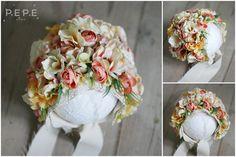Newborn Floral bonnet, photo props, newborn photo props, floral, flowers,