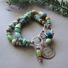 Artisan Jewelry, Two Strand, Turquoise, African Trade Beads, Artisan Silver, Antique Beads, Bracelet, Sundance Style. $165.00, via Etsy.