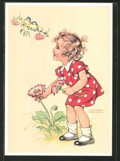 old postcard: Künstler-AK Ilse Wende-Lungershausen: Mädchen entdeckt beim Blumen pflücken ein Paar Blaumeisen