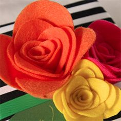 Make a beautiful gift topper with felt flowers.