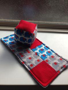 Soft blocks and patchwork minky burp rag