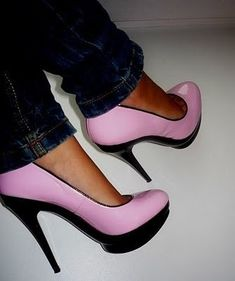 Pink And Black - Click for More...love...sure wish I knew how to walk on these lol
