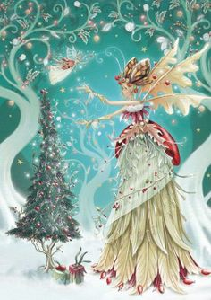 Winter fairy This is one of the prettiest faery pictures I've seen. Fairy Dust, Fairy Land, Fairy Tales, Illustration Noel, Christmas Illustration, Vintage Christmas Cards, Christmas Pictures, Christmas Fairy, Christmas Crafts