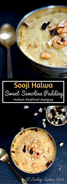 Quick and easy, ready in under 30 minutes. Sooji Halwa / Sweet Semolina Pudding is something you need to put on your Diwali sweets list for this year! Indian Dessert Recipes, Indian Sweets, Indian Recipes, Easy Desserts, Delicious Desserts, Yummy Food, Flan, Semolina Pudding, Semolina Recipe