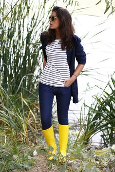 Stripes & bright Wellies