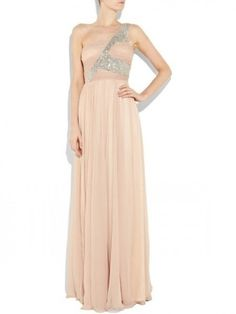 Sheath/Column Sleeveless  One Shoulder Beading Floor-length Chiffon Prom Dress $391.99 Prom Dresses 2014