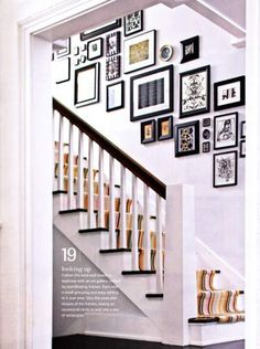 wall of frames above staircase