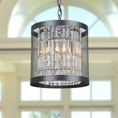 Add interesting sparkle to your dining room or entryway with the Henrietta antique black iron cage pendant light. This pendant light takes four 60-watt incandescent bulbs, which allow it to illuminate