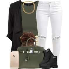 Black and Green. by livelifefreelyy on Polyvore featuring polyvore, fashion, style, Onzie, FiveUnits, Hermès, ASOS and Timberland