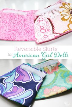 Such cute sewing. American Girl Doll Clothes pattern to make DIY reversible skirts for the dolls. Love how easy these are! #AGDoll #Sewing #Pattern #AmericanGirlDoll
