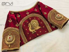 Stunning maroon color designer blouse with swan design hand embroidery gold thread work. Blouse Back Neck Designs, Best Blouse Designs, Wedding Saree Blouse Designs, Silk Saree Blouse Designs, Kurta Designs, Stylish Blouse Design, Designer Blouse Patterns, Hand Embroidery Designs, Simple Embroidery