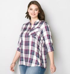 WHT-NVY-MAGENTA PLAID BF, Multi Color