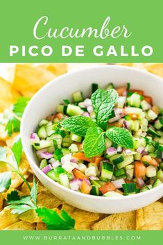 For a unique salsa recipe, you'll love this Mediterranean cucumber pico de gallo! Made with only a handful of ingredients, this easy pico de gallo recipe comes together in no time, and everyone always goes over this super fresh salsa. Serve this cucumber salsa at your next get-together, and it'll be a guaranteed hit. #cucumberpicodegallo #cucumbersalsa #mediterraneansalsa #cucumberdip #cucumbersalsarecipe #freshsalsarecipe #summerappetizers Vegan Appetizers, Appetizer Recipes, Salad Recipes, Snack Recipes, Kitchen Recipes, Gourmet Recipes, Cooking Recipes, Cooking Tips, Best Salsa Recipe