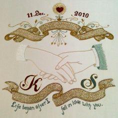 """Was ordered sweet wedding board in 2010. It was good experience. Happy and memorial work! 昔オーダーを受けたウェルカムボード。 良い思い出です。たのしかった。 """"あなたを愛してから私の人生ははじまった"""" つうあま〜い言葉入り。 ビクトリアン風のデザインに統一。 #azumisakata #embroidery #wedding #weddingboard #hand #goldwork #goldworkembroidery #坂田あづみ #刺繍 #ウェルカムボード #手 #ゴールドワーク刺繍"""