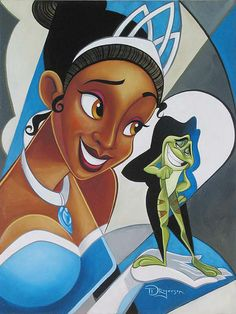 """""""Princess and the Frog"""" by Tim Rogerson - Original Oil on Canvas, 24x18.  #Disney #PrincessAndTheFrog #DisneyFineArt #TimRogerson"""
