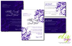 Floral Wedding Invitation Suite by ElsyPaper on Etsy
