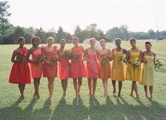 Ombre Weddings: Bridesmaid Dresses (Photo By: Eric Kelley via Southern Weddings) Rainbow Bridesmaid Dresses, Bridal Dresses, Perfect Wedding, Dream Wedding, Wedding Day, Summer Wedding, Orange Wedding, Wedding Attire, Wedding Stuff