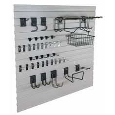 Create a 4x8-foot storage organization section in your garage or utility room with the GlideRite Slatwall Garage Organization Garden Kit. Each kit includes an assortment of hooks and baskets to get yo