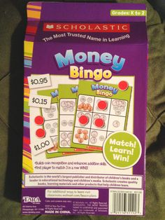 "Scholastic: ""MONEY BINGO"" Where they MATCH! LEARN! WIN! (Gr: K-2) 4 Can Play!  Great for Math Center!  Starting Bid @ $4.99"
