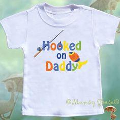 Boy Tshirts Hooked on Daddy Fishing Tee