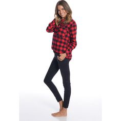 Bad in Plaid Button Up via Polyvore featuring tops, flannel top, loose fit tops, button front top, loose tops and button down top