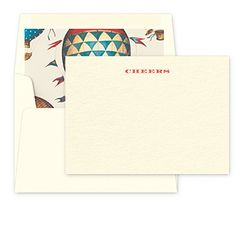 Checkerboard Cheers Note Cards with Hand Lined Envelopes, Off-White *** Click image for more details.