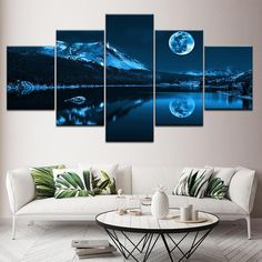 Modern Decoration Home Wall Art Modular Pictures Canvas 5 Pieces Abstract Blue Moon Night Scene Paintings HD Printing Framework – Linh's Corner Abstract Canvas Wall Art, Canvas Art Prints, Wall Canvas, Blue Abstract, 5 Piece Canvas Art, Canvas Paintings, Wall Art Pictures, Canvas Pictures, Home Wall Art