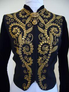 AMAZING Deco 1940s Ornate Heavily Embroidered Jacket Blouse Crepe Silk Velvet Top - Film Noir Marlene Dietrich Couture Metal Detailing