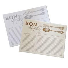 Bon Appétit letterpress recipe cards by Hazel & Bright