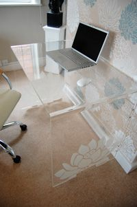 A home office desk that doesn't look too imposing in a small room
