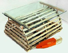 half-round lobster trap with supports for coffee table | nautical