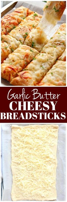 Garlic Butter Cheesy Breadsticks Recipe - the easiest way to make cheese-filled breadsticks, made with crescent roll dough, garlic butter, and cheese! #breadsticks #rolls Breadsticks Recipe, Cheese Breadsticks, Crescent Dough, Crescent Rolls, Appetizer Recipes, Dinner Recipes, Appetizers, Seal, Garlic Bread