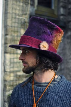 Felted Top Hat 'Magician' Handmade felt topper by Innerspiral Mens Straw Hats, Hats For Men, Fancy Hats, Cute Hats, Felt Hat, Wool Felt, Boho Hat, Millinery Hats, Hat Hairstyles