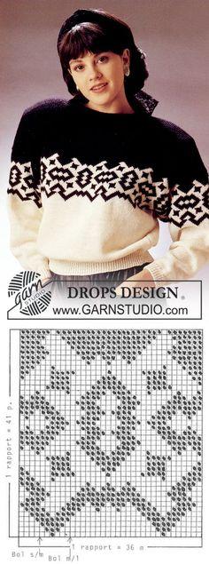 "DROPS black and white jumper in ""Alpaca"". Ladies and men's sizes S-L. ~ DROPS Design | вязание(жаккард,вышивка) | Постила"
