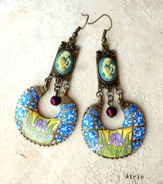 Portugal Antique Tile Replica Chandelier Earrings, Aveiro, Blue Iris Art Nouveau Tomar Cloister - Convent of Christ built in 1160