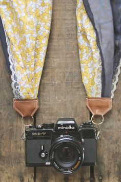 Scarf Camera Strap in Yellow Daisy Navy by AnnabellsWorkshop, $35.00