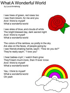 """FREE Printable Lyrics to """"What a Wonderful World"""" by Louis Armstrong"""