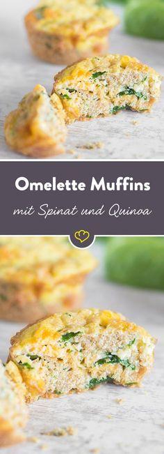 Die saftigen Omelett-Happen aus der Muffinform machen sich prima auf deinem Brunchbuffet oder als gesunder Snack zwischendurch. Dank frischem Spinat und proteinreichem Quinoa halten die Häppchen lange satt und beugen dem berüchtigten Heißhunger am Nachmittag vor.