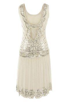 CREAM SEQUIN CHARLESTON FLAPPER uk8 10 12 16 GATSBY dress 1920's ART DECO