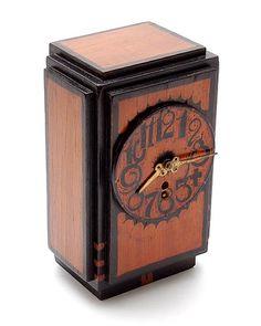 Botterweg Auctions Amsterdam A batik wooden clock with pendulum design execution by Louis Bogtman Hilversum / the Netherlands Antique Mantel, Antique Clocks, Amsterdam School, Clocks Inspiration, Art Nouveau, Water Clock, Mechanical Clock, Mantel Clocks, Cool Clocks