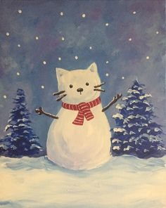 Join us for a Paint Nite event Sat Jan 2019 at 2016 Town Center Blvd Brandon. - Join us for a Paint Nite event Sat Jan 2019 at 2016 Town Center Blvd Brandon, FL , FL. Christmas Canvas, Christmas Paintings, Christmas Art, Winter Christmas, Vintage Christmas, Frida Art, Winter Art, Christmas Wallpaper, Crazy Cats