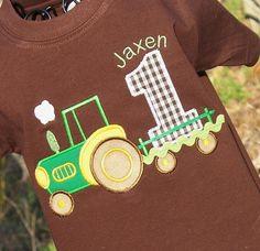Boys Personalized Appliqued Birthday Tractor Tee On Chocolate 1st Birthday Shirts, Farm Birthday, Boy Birthday Parties, Birthday Ideas, Tractor Birthday, Birthday Cake, John Deere Party, Farm Party, First Birthdays