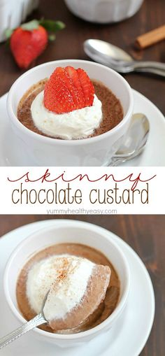 Easy Chocolate Custard recipe that's velvety smooth, rich and light all at the same time. Plus it's super easy (only 5 ingredients) and under 100 calories for each cup!