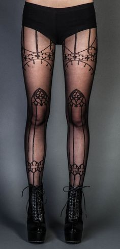 Tights with the appearance of an old Gothic cathedral. It's quite unusual, and it works surprisingly well!