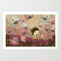 Balloon Tree Song Art Print by Meomi - $15.00