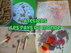 Ateliers – Les pays du monde - par Gribouille éducatif Continents, Sensory Activities, Countries Of The World, Day Care, Children, Bricolage