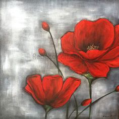 Silver and Red Poppies by RebecaFlottArts on Etsy