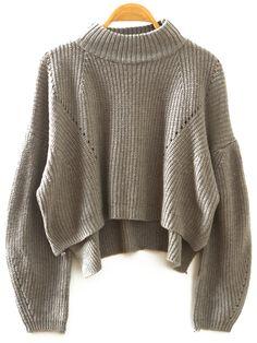 Grey Stand Collar Lantern Sleeve Crop Sweater 18.88