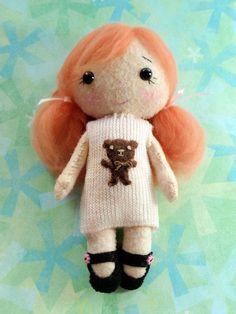 Tiny Handmade Stuffed Felt Pocket Doll by ArtsySewin on Etsy, $22.00